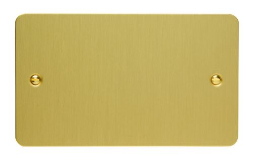 Varilight XFBDB Ultraflat Brushed Brass 2 Gang Double Blank Plate